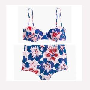 J.Crew Eco Underwire High-Waist Bikini Pansy Print